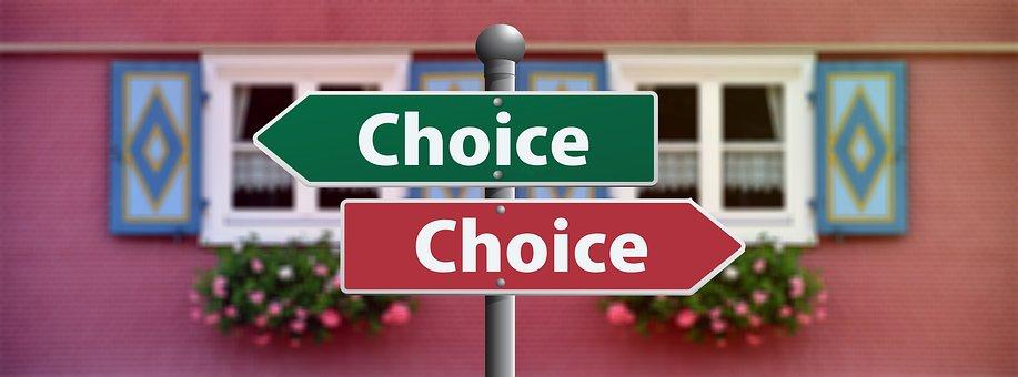 Freccia di scelta a destra o sinistra