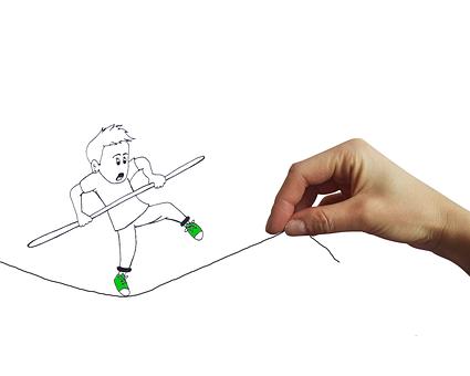 equilibrista su un filo